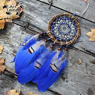 Feng Shui handmade. Livemaster - original item Dreamcatcher with Afghan lapis lazuli and moonstone, 25 cm. Handmade.