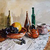 Картины и панно ручной работы. Ярмарка Мастеров - ручная работа Натюрморт с дыней и виноградом. Handmade.