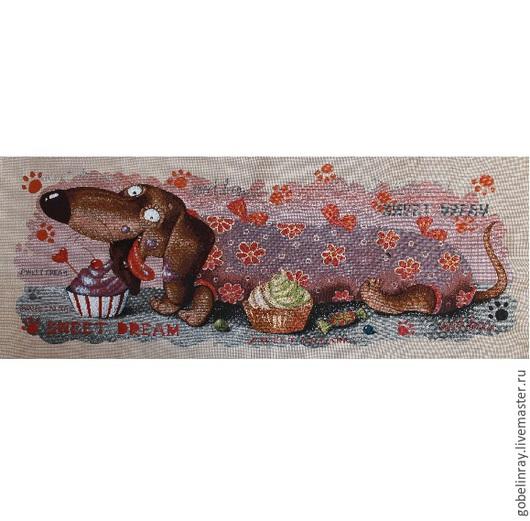 Шитье ручной работы. Ярмарка Мастеров - ручная работа. Купить Такса кекс: гобеленовая заготовка без оверлока, 90-35 см. Handmade.