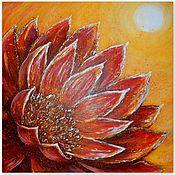 Картины и панно handmade. Livemaster - original item Painting Red Lotus Flower 60 by 60 cm. Handmade.