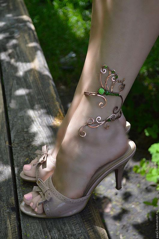 """Браслеты ручной работы. Ярмарка Мастеров - ручная работа. Купить Браслет на ногу """"Butterfly"""". Handmade. Коричневый, браслет, медная свадьба"""