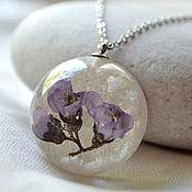 Украшения handmade. Livemaster - original item Purple pendant-lens and a pair of earrings made of epoxy resin with real flowers. Handmade.