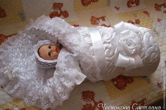 Для новорожденных, ручной работы. Ярмарка Мастеров - ручная работа. Купить Одеялко на выписку для новорожденного. Handmade. Белый, на выписку из роддома