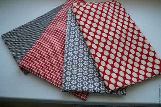 """Шитье ручной работы. Ярмарка Мастеров - ручная работа. Купить Ткань для пэчворка и шитья"""" Серые- красные оттенки"""". Handmade."""