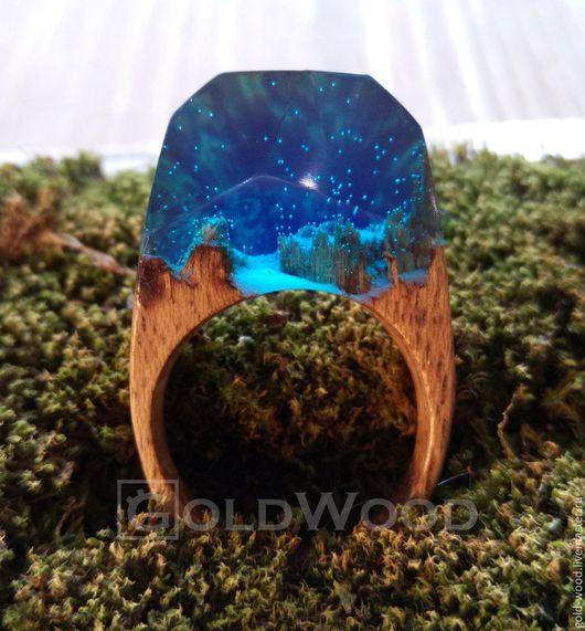 """Кольца ручной работы. Ярмарка Мастеров - ручная работа. Купить Деревянное кольцо """"Морское"""", кольцо из дерева. Handmade. Синий"""
