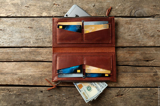 Кошельки и визитницы ручной работы. Ярмарка Мастеров - ручная работа. Купить Портмоне. Клатч. Рыжий кошелек для паспорта, телефона и денег. Handmade.