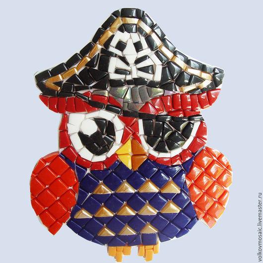 Животные ручной работы. Ярмарка Мастеров - ручная работа. Купить Смальта-пазл « Сова Пират». Handmade. Тёмно-синий
