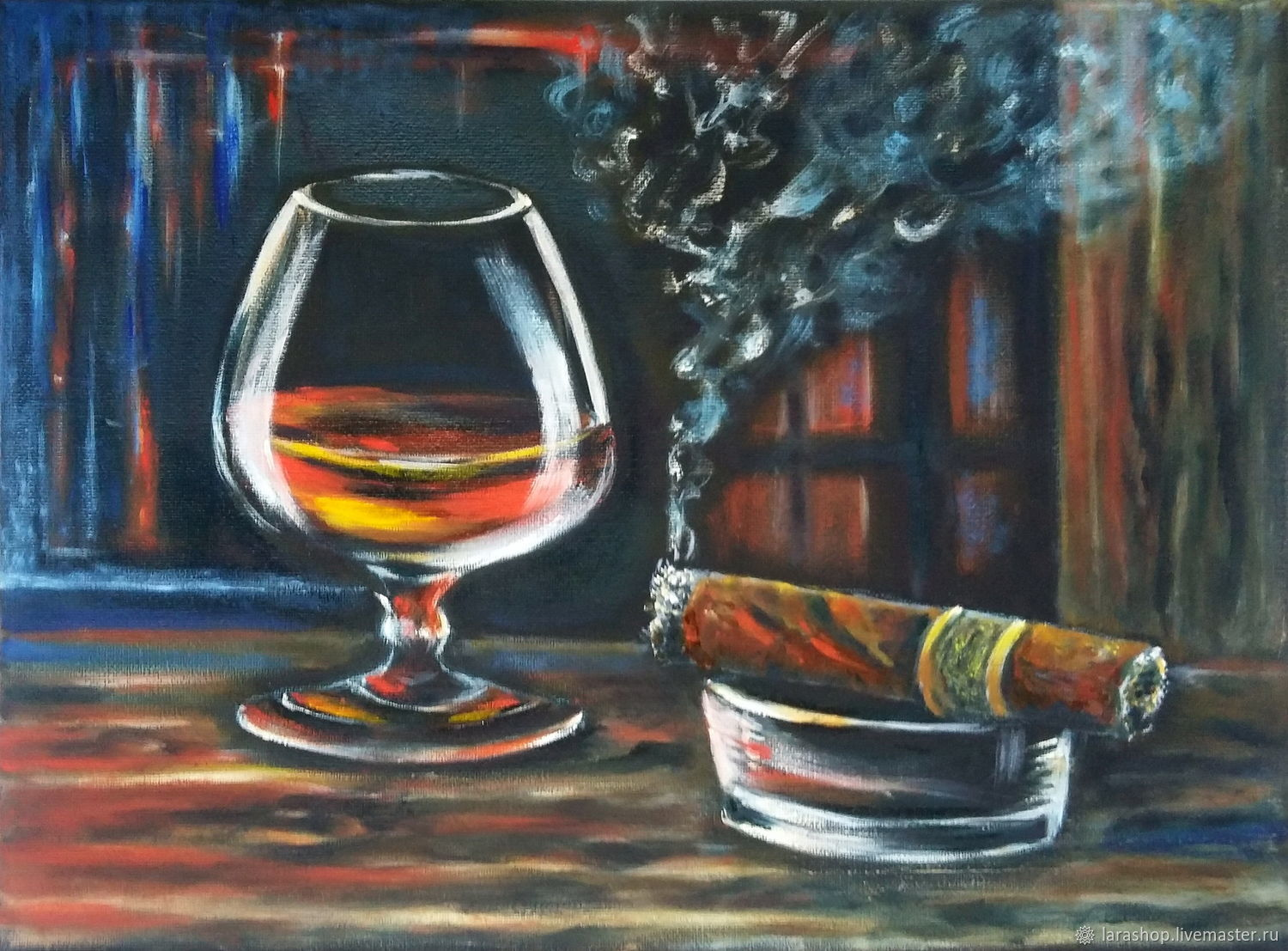 Painting for men Glass Cognac and Cigar still Life oil on canvas, Pictures, Moscow,  Фото №1