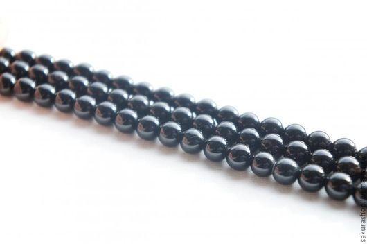 Для украшений ручной работы. Ярмарка Мастеров - ручная работа. Купить Агат черный шар 8 мм. Handmade. Черный