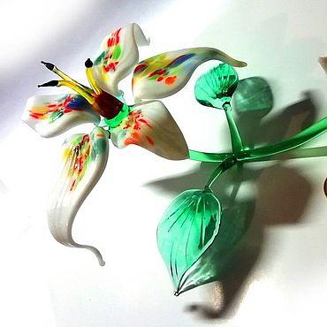 Flowers and floristry handmade. Livemaster - original item Glass fuchsia flower white as a gift. Handmade.