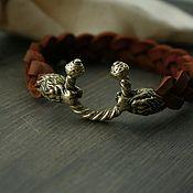 Украшения handmade. Livemaster - original item Bracelet made of genuine leather and bronze bracelet with lion. Handmade.