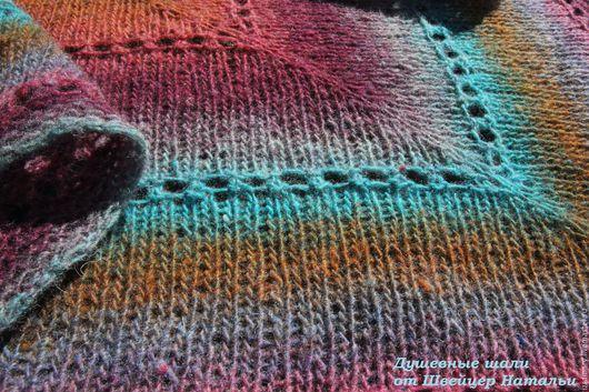 Шали, палантины ручной работы. Ярмарка Мастеров - ручная работа. Купить Шейный платок бактус из шерсти Лазурный берег. Handmade.