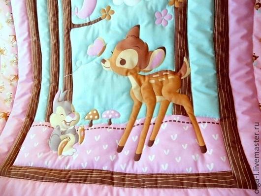"""Пледы и одеяла ручной работы. Ярмарка Мастеров - ручная работа. Купить Детское одеяло """"Бэмби"""" Текстиль для детской. Handmade. Рисунок"""