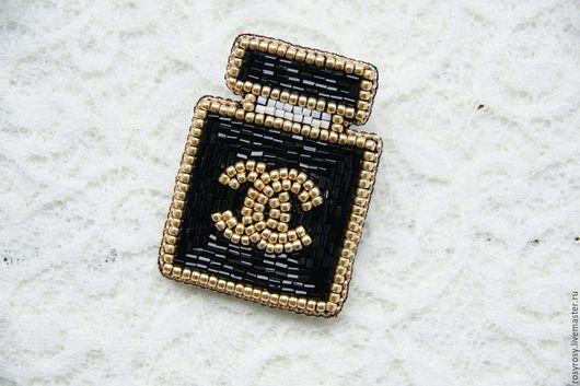 """Броши ручной работы. Ярмарка Мастеров - ручная работа. Купить Брошь из бисера  Вышитая брошь""""Favourite Perfume Black'. Handmade."""