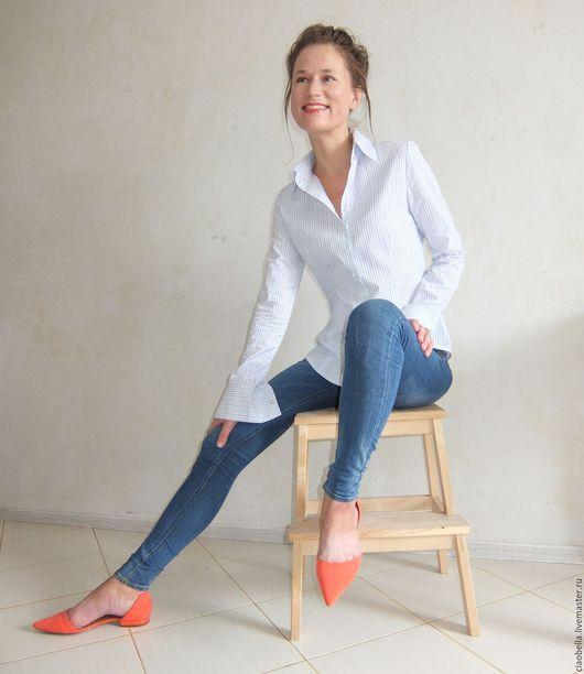 """Блузки ручной работы. Ярмарка Мастеров - ручная работа. Купить Рубашка """"Modern feminity """". Handmade. Голубой, блузка"""