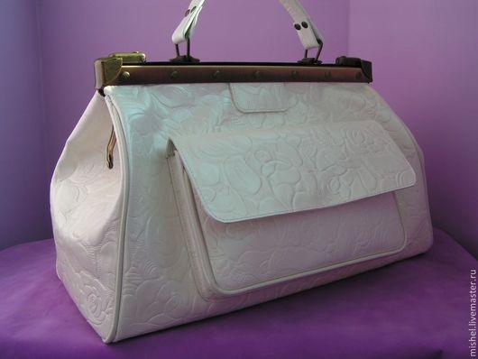 Женские сумки ручной работы. Ярмарка Мастеров - ручная работа. Купить Роскошный белый саквояж. Handmade. Белый, сумка женская