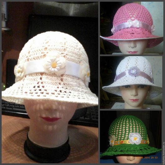 Шляпы ручной работы. Ярмарка Мастеров - ручная работа. Купить Летняя шляпка. Handmade. Белый, связать на заказ, хлопок 100%