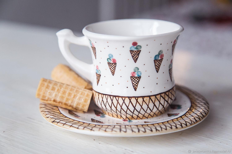 Сервизы, чайные пары ручной работы. Ярмарка Мастеров - ручная работа. Купить Фруктовое мороженое. Чайная пара ручной работы, керамика. Handmade.