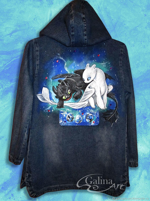 """Одежда для девочек, ручной работы. Ярмарка Мастеров - ручная работа. Купить Джинсовая куртка с ручной росписью """"Как приручить дракона 3"""". Handmade."""