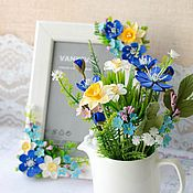 Цветы и флористика handmade. Livemaster - original item Bouquet in a vase and photo frame Spring. Handmade.