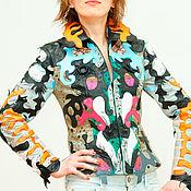 Одежда handmade. Livemaster - original item Women`s jacket genuine leather multi-colored, fitted jacket.. Handmade.