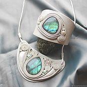 """Украшения handmade. Livemaster - original item """"Морозное окно"""". Украшение из кожи и камня. Handmade."""