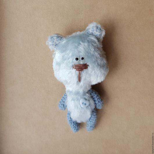 """Игрушки животные, ручной работы. Ярмарка Мастеров - ручная работа. Купить Миниатюрный мишка """"Детство в кармашке"""". Handmade. Голубой цвет"""