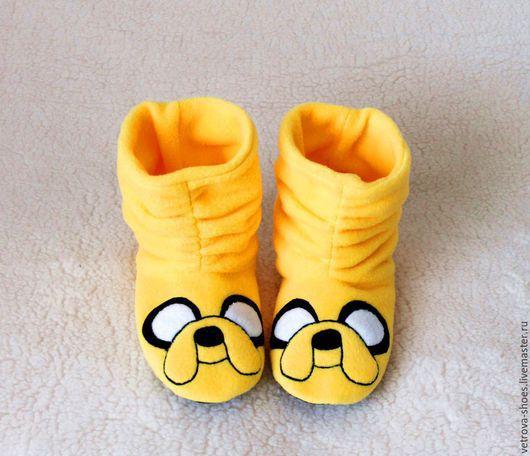 """Обувь ручной работы. Ярмарка Мастеров - ручная работа. Купить Тапочки """" Время приключений. Джейк"""". Handmade. Желтый, детский"""