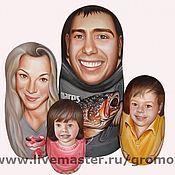 Приколы ручной работы. Ярмарка Мастеров - ручная работа Портреты на матрешках (семья). Handmade.