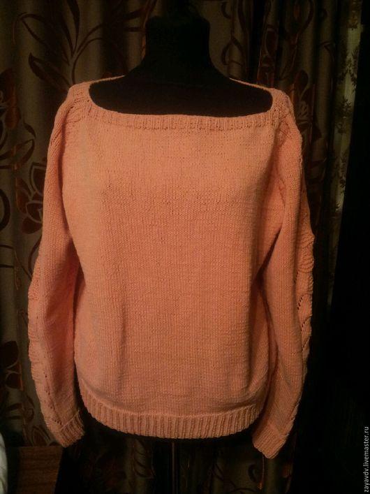 """Кофты и свитера ручной работы. Ярмарка Мастеров - ручная работа. Купить Пуловер с ажурными рукавами """"Персиковый пломбир"""". Handmade."""