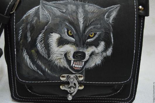 Женские сумки ручной работы. Ярмарка Мастеров - ручная работа. Купить сумка кожаная с  головой волка. Handmade. Черный