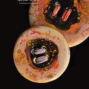 handmade. Livemaster - original item Flamingo-colored porcelain button. Handmade.