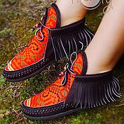 """Обувь ручной работы. Ярмарка Мастеров - ручная работа Кожаные ботиночки """"Hippie Life"""". Handmade."""
