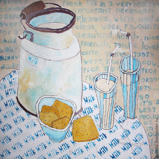 Натюрморт ручной работы. Ярмарка Мастеров - ручная работа. Купить Молоко и печенье. Handmade. Голубой, печенье, бумага