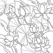 Материалы для творчества ручной работы. Ярмарка Мастеров - ручная работа Шаблон для росписи Лотосы. Handmade.