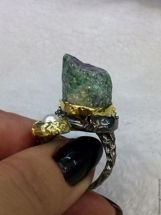 Кольца ручной работы. Ярмарка Мастеров - ручная работа. Купить Кольцо с кристаллом рубина в цоизите, серебро 925 пробы.. Handmade.