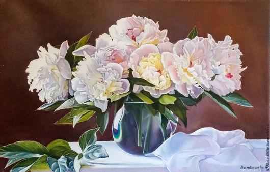 """Картины цветов ручной работы. Ярмарка Мастеров - ручная работа. Купить Картина маслом """"Розовые пионы"""" 40х60.холст, масло. Handmade."""