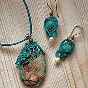 Украшения handmade. Livemaster - original item Jewelry set with stone and painted pendant and earrings turquoise Cosy. Handmade.