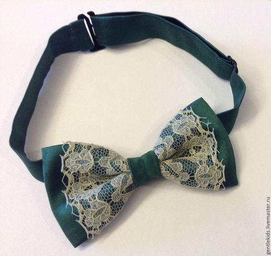 Галстуки, бабочки ручной работы. Ярмарка Мастеров - ручная работа. Купить Галстук-бабочка для девочки, зеленый, шелк, кружево. Handmade.