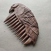 "Сувениры и подарки handmade. Livemaster - original item Wooden Hand Carved Hair Comb ""Raven"". Handmade."