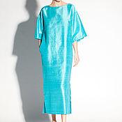 Одежда ручной работы. Ярмарка Мастеров - ручная работа Бирюзовое шелковое макси свободное платье кимоно синее. Handmade.