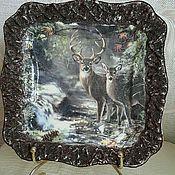 """Посуда ручной работы. Ярмарка Мастеров - ручная работа Подарочная тарелка """"Олени в летнем лесу""""!. Handmade."""