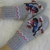 Варежки Снегири прилетели,варежки купить,варежки,варежки вязаные