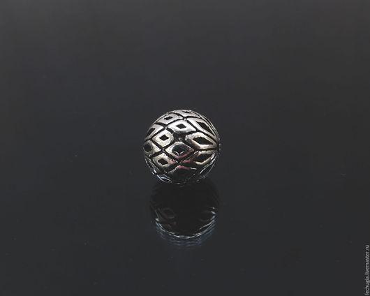 """Для украшений ручной работы. Ярмарка Мастеров - ручная работа. Купить Бусина из серебра """"Рифленая"""" /шарик, 8 мм/. Handmade."""