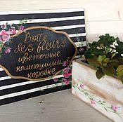 Цветы и флористика ручной работы. Ярмарка Мастеров - ручная работа Коробка  с цветами  с росписью. Handmade.