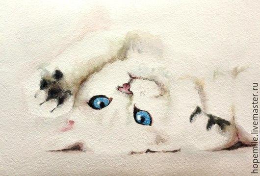 """Животные ручной работы. Ярмарка Мастеров - ручная работа. Купить коты. """"Белое на белом"""" 2 шт. Handmade. Белый, картина"""