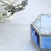 """Свадебный салон ручной работы. Ярмарка Мастеров - ручная работа """"Голубая астра"""" Стеклянная шкатулка для украшений. Handmade."""