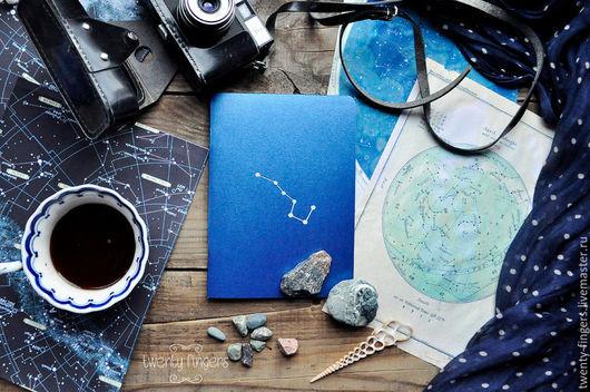"""Блокноты ручной работы. Ярмарка Мастеров - ручная работа. Купить Тетрадь """"Ночь"""" Indian Blue А5. Handmade. Синий, звезды"""