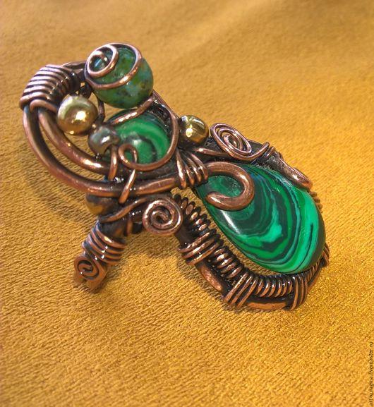 """Кольца ручной работы. Ярмарка Мастеров - ручная работа. Купить Кольцо """"Хозяйка медной горы"""". Handmade. Зеленый, из меди"""