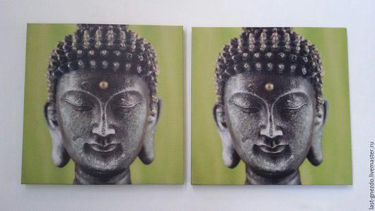 Картина, панно `Будда`- 2 шт, фото печать на холсте,  20 х 20 см, новая. Цена 600 руб. за пару.